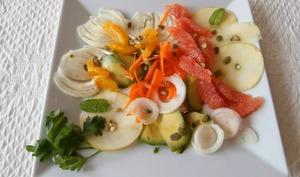 Salade orange, pamplemousse, avocat, pomme, fenouil, carottes, oignons rouges