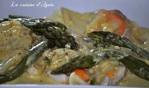 ravioles de st jacques aux asperges sauce curcuma