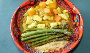 Tajine de poulet aux asperges et potiron
