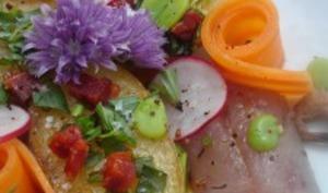 Pommes de terre rôties à l'huile de chorizo, maquereau cuit/cru au cognac et à l'orange