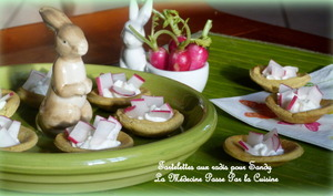 Tartelettes de radis pour l'apéritif de Sandy, massala, ricotta