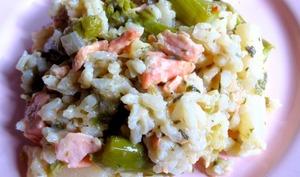 Risotto au saumon, asperges et salsifis