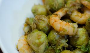 Choux de Bruxelles aux crevettes et sauce soja