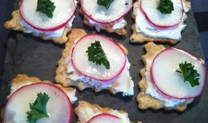 Crackers Apéritif au fromage frais et radis