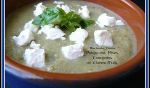 Potage aux fèves, courgettes et de chèvre frais