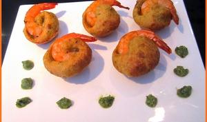 Bouchées crevettes pesto