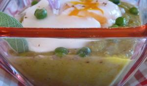 Gaspacho petits pois-concombre à la sauge