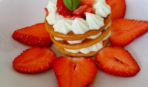 Millefeuille fraise basilic