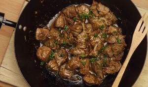 Wok de bœuf mariné