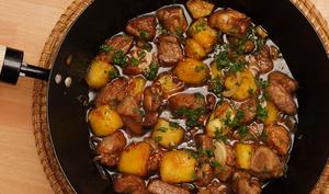 Wok de porc à l'ananas, caramel au vinaigre de Xérès