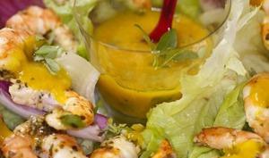 Salade de gambas et salsa de mangue