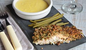 Saumon en croûte de noisettes et polenta crémeuse
