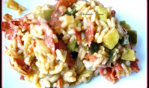 Risotto aux légumes et au chorizo