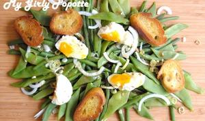 Haricots en salade et oeufs mollets