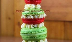 Macaron framboise, verveine, chocolat blanc, façon Tour de Babel