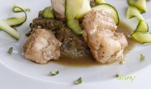 Lotte aux courgettes râpées, sauce pineau et soja
