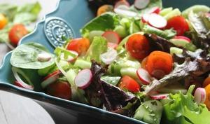 Salade de tomates, radis, concombre, menthe