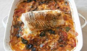 Cabillaud au four, légumes du soleil et mozzarella