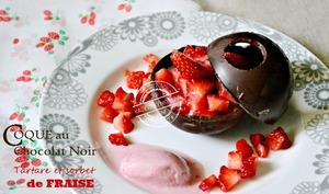Coque chocolat ou demi-sphère chocolat noir ou blanc aux fraises
