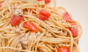 Pâtes complètes aux sardines pimentées