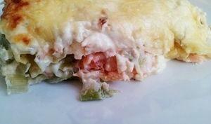 Les lasagnes au saumon et poireaux