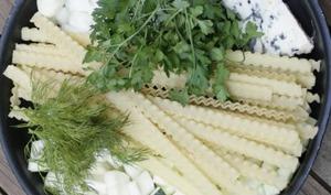 One pan pasta aux courgettes et roquefort
