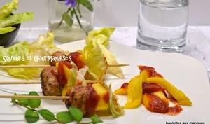 Mini-brochettes de Boulettes de viande et Mangues