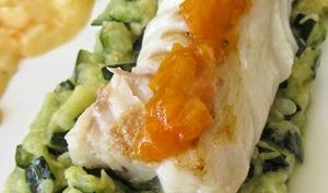 Dos de cabillaud, purée de courgette à la marjolaine, beurre acidulé à l'abricot