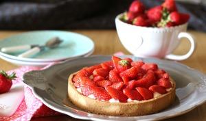 Tarte aux fraises à la crème diplomate