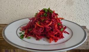 Salade violette betterave, carotte, radis violet vinaigre à la pulpe de framboise