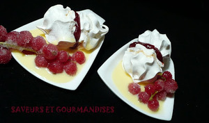 Duo rouge et blanc enneigé