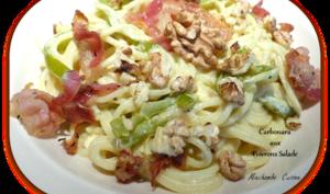 Spaghetti carbonara aux poivrons salade
