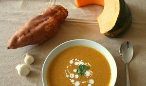 Soupe veloutée aux champignons, potiron et patate douce