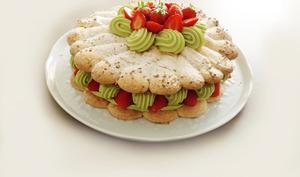 Gateau aux fraises et à la pistache
