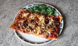 Pizza jambon, chorizo, champignons, fromage, tomate