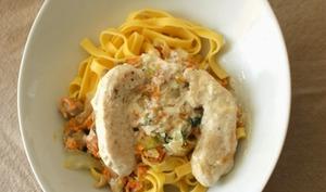 Tagliatelles aux poulet, carottes, choudou et champignons