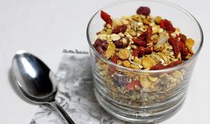 Granola avec petites graines et fruits rouges