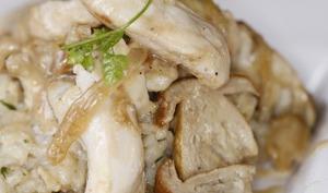 Riz crémeux au poulet et aux cèpes
