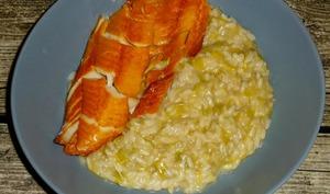 Haddock poché et risotto aux poireaux