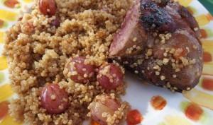 Magret de canard aux raisins noirs et vinaigre balsamique