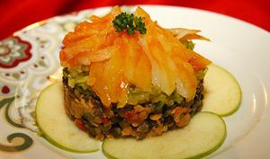 Salade de haddock aux lentilles et pommes vertes.