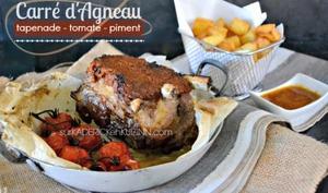 Carré d'agneau en croute de tapenade tomate et piment à la plancha