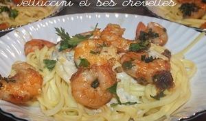 Fettuccini et ses crevettes