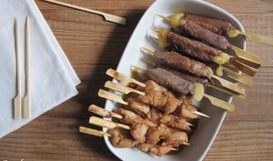Yakitori de boeuf et de poulet