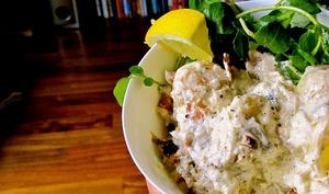 Salade cauchoise, pommes de terre, cresson, jambon