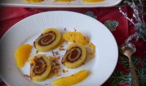 Gâteau roulé à l'orange et à la pâte à tartiner