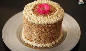 Gâteau vanille Nutella, praliné aux noisettes et crème à la fleur d'oranger