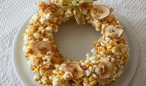 Couronne de Noël en pop-corn