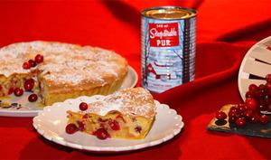 Tarte biscuitée, pommes, canneberges et sirop d'érable