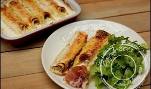 Cannelloni au chèvre frais, aux noisettes et au jambon de Parme